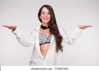 young woman with open arms