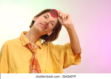 young woman optimist see through rose-coloured glass
