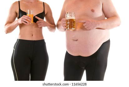 Young woman with orangejuice beneath a very fat man with beer