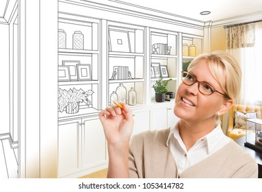Young Woman Over Custom Built-in Shelves and Cabinets Design Drawing Gradating to Finished Photo.