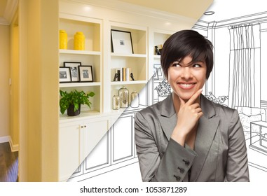 Young Woman Over Custom Built-in Shelves and Cabinets Design Drawing to Cross Section of Finished Photo.