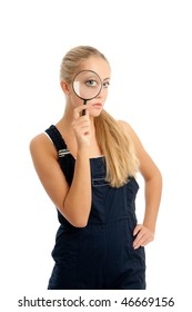 young woman with overalls on, white backgroung