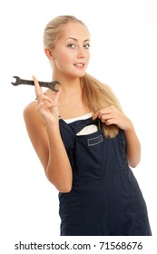 young woman with overalls on, white background