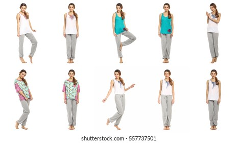 Young woman in pajamas isolated concept