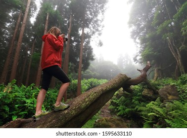 Young woman photographer trekking and taking pictures in the tropical forest of Pozo da Alagoinha, Flores Island, Azores Archipelago, Portugal, Europe