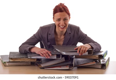 Young woman and piles of files