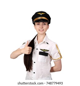 Young woman in pilot uniform shows thumb up smiling isolated on white background