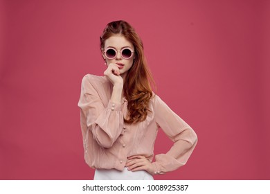 young woman in pink clothes, glamor, beauty