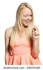 young woman in pink with coin