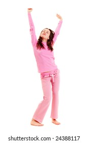 young woman in pink pajamas against white background