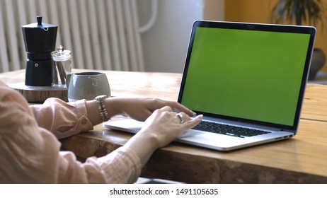 Young woman in pink shirt sitting at the large wooden table and typing on her laptop with chroma key green screen. Stock footage. Chroma key screen for placement of your own content.