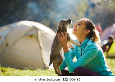 young woman is playing with a cute little puppy on a green grass in the campsite