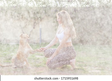 Young woman playing with dog in garden