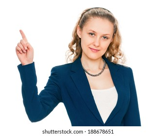 young woman pointing finger. isolated on white background. point towards