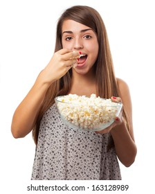 young woman with popcorn isolated on white background