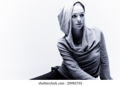 young woman portrait in black and white