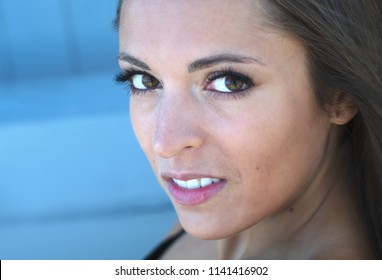 young woman portrait closeup beauty model attractive face