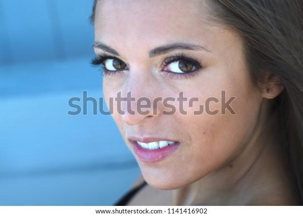 young woman portrait closeup beauty model attractive face