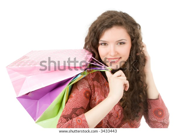 Young woman portrait with shopping bag isolated on white background