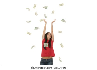 Young woman portraying a successful business woman with a lot of polish money