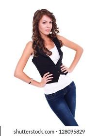 Young woman posing to camera, studio shot