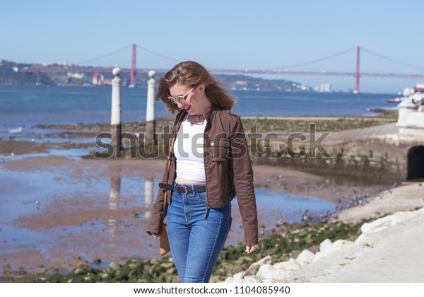 Young woman posing in Lisbon