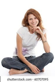 young woman posing in a studio isolated on white