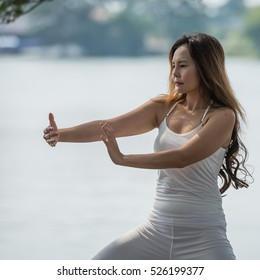 Young woman practicing traditional Tai Chi Chuan, Tai Ji  and Qi gong in the park for healthy, traditional chinese martial arts concept.