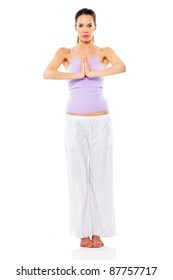 Young woman practicing yoga on white background studio