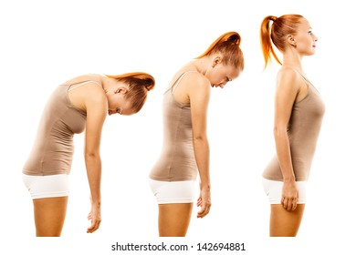 Young woman practicing yoga spine roll over white background