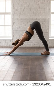 Young woman practicing yoga, standing in Downward facing dog pose, adho mukha svanasana exercise, girl in grey sportswear, leggings and bra working out at home or in yoga studio, vertical photo
