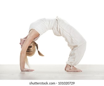 young woman practising yoga exercise