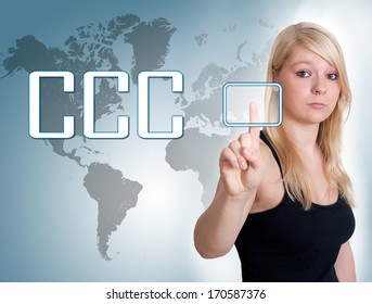 Young woman press digital Customer Care Center button on interface in front of her