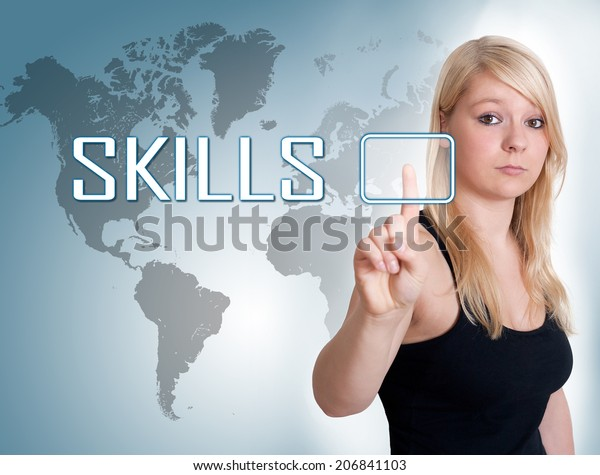Young woman press digital Skills button on interface in front of her
