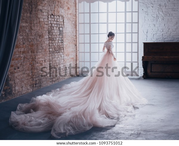young woman princess expensive luxury chic lush puffy evening dusty pink dress long train back, background vintage white room classic royal interior high window. Stylish Bride Fashion queen holiday