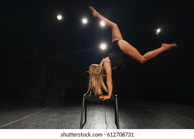 young woman professional dancer on stage
