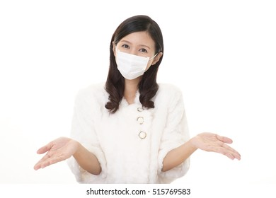 Young woman with protect mask on her face
