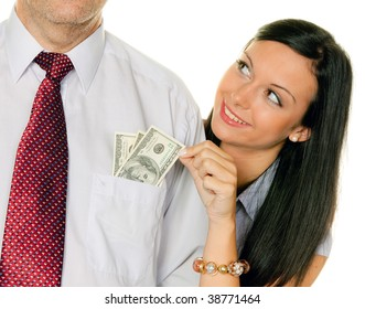A young woman pulls a man out of the money Tasche.Dollar