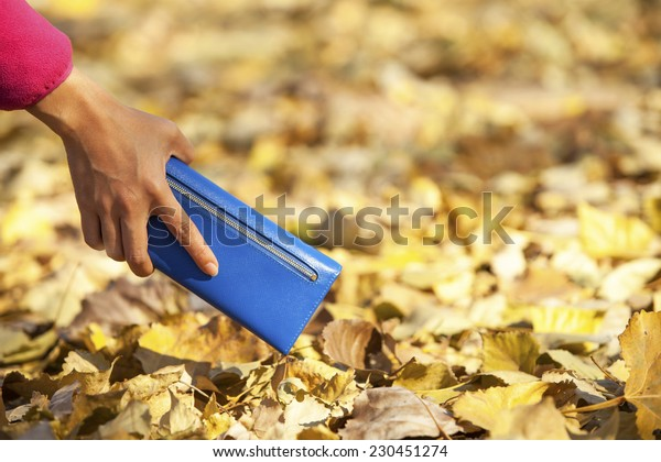 Young woman purse wallet on autumn background