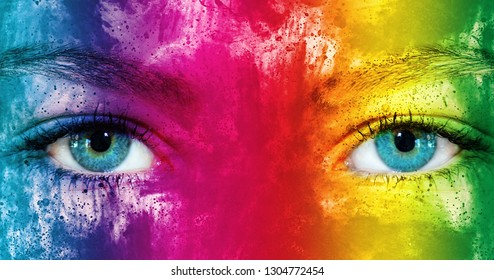 Young woman with rainbow colors