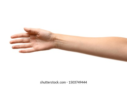 Young woman reaching hand for shake on white background, closeup
