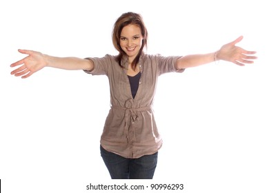 Young woman reaching for a hug
