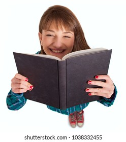Young Woman Reading Book Over White Background