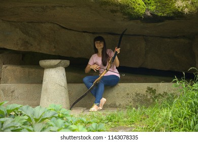 Young Woman Recurve Bow Arrow Practicing Stock Photo (Edit
