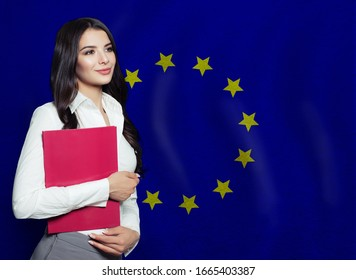 Young woman with red book. Learn or business concept
