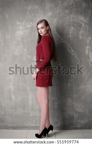 Young Woman Red Gown Beautiful Makeup Stock Photo Edit Now