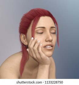Young woman with red hair and closed eyes in casual pose Computer generated 3D illustration