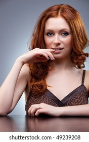 Young woman with red hair portrait.