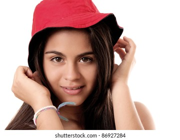 young woman with red hat isolated, white background. photography