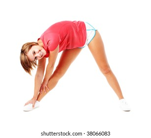 Young woman in red shirt stretching, isolated on white, from a complete series of photos.